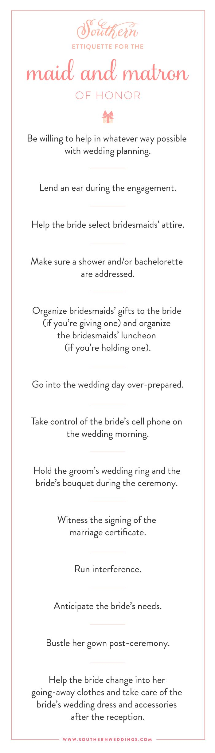 Checklist for the maid and matron of honor! Everything you need to know!