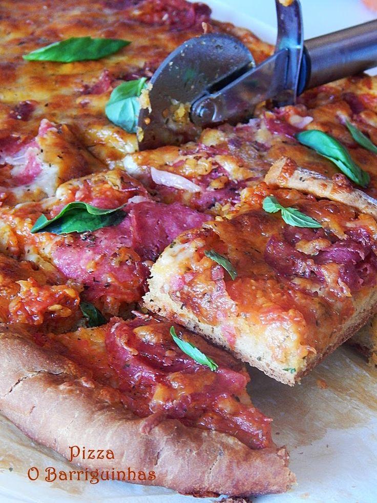 Pizza de Presunto, 3 Queijos e Manjericão
