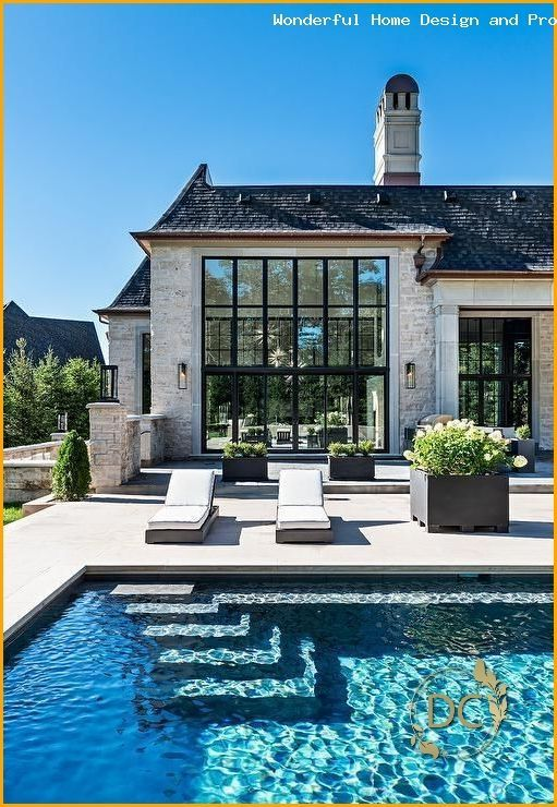 Stunning French Style House With A Rectangular Pool In The Bottom Bottom French House Luxuswohnung P In 2020 French Style Homes Rectangular Pool Dream House