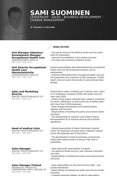 unit manager itäkeskus/ development manager occupational health care Resume example