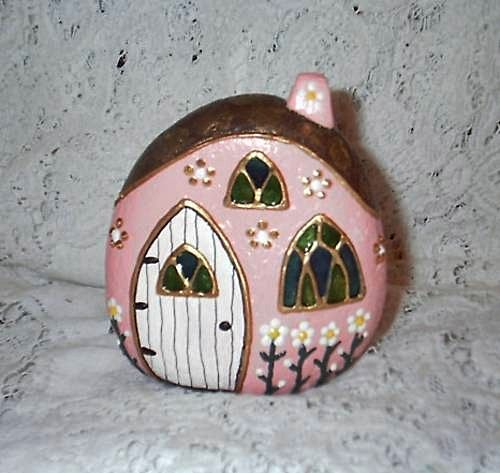 Fairy house -instead of heavy rock, how about on a gourd?