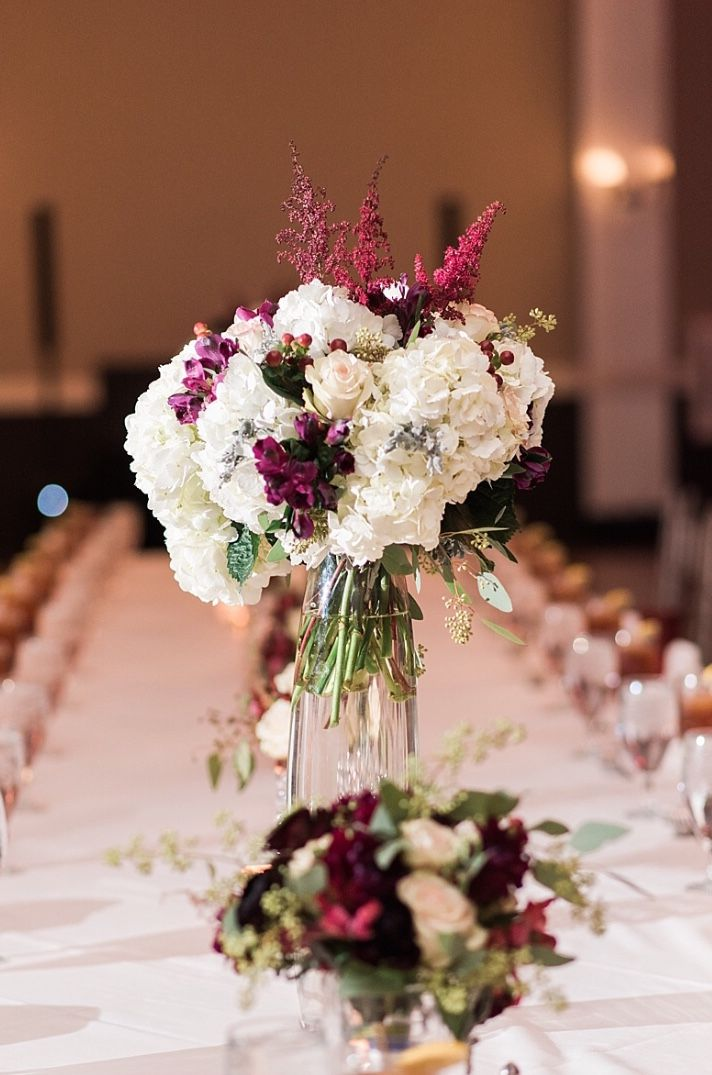 Burgundy And Blush Wedding Centerpiece At Piazza On The Green