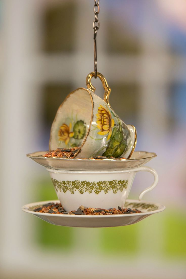 I made a birdfeeder out of old teacups and saucers! - Imgur