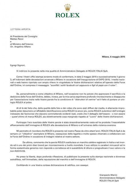 """Rolex prende per incoscienti Renzi e Alfano: """"inaccettabile affiancamento a devastazione di Milano"""""""