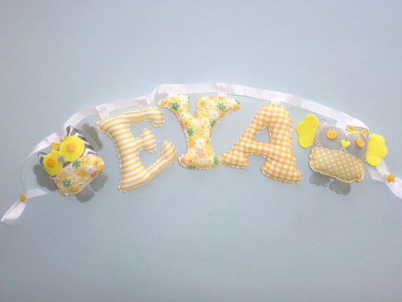 Fabric letters girl's room name banner by LittleFairyCottage
