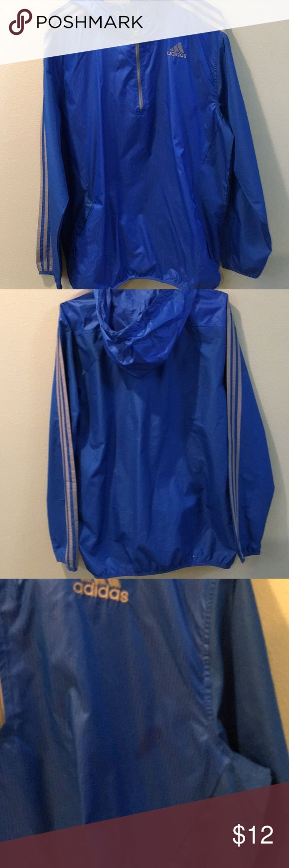 Lightweight Adidas Jacket Men's nylon adidas jacket. Unlined. Small stain shown in pictures. Barely noticeable when wearing. adidas Jackets & Coats Windbreakers