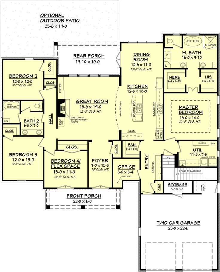 European Style House Plan - 4 Beds 2 Baths 2480 Sq/Ft Plan #430-102 Floor Plan - Main Floor Plan - Houseplans.com