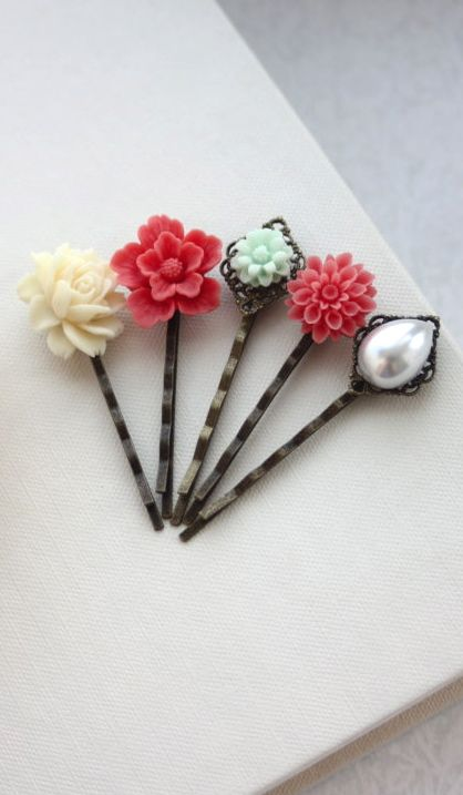 Coral and Mint, Pearl Flower Hair Pins Accessories, Set of FIVE (5) Bridesmaids Gift.