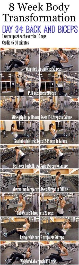 8 Week Body Transformation (Week 5, Day 34: Back and Biceps)