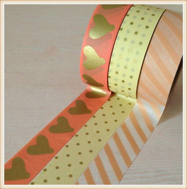 Высокое качество золотой васи лента 15 мм * 10 м/золотое сердце и золотой dot япония васи маскировки бумаги лента