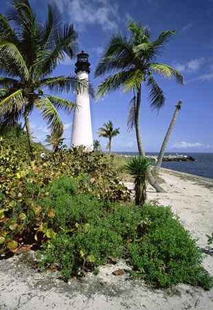Dr. Beach's Top 10 Beaches, 2012: Cape Florida State Park, Key Biscayne, Fla.  #8. : This beach at the southern tip of Key Biscayne provides clear, emerald-colored waters and gentle surf. The fine white-coral sand beach is great for swimming, since waves are knocked down by a large sand shoal offshore. In addition, the Cape Florida Lighthouse allows for a breathtaking view of this beautiful beach.