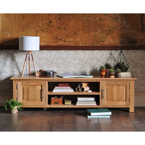 Newark Oak Low Wide TV Unit Up to 70'' from The Cotswold Company. Free Delivery & Free Returns. Country Furniture, Living Room Furniture, Oak Furniture, TV Stand, TV Cabinet, Oak TV Stand.