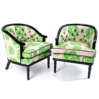 love: Style, Green, Living Room, Regency Chairs, Fabrics, Rose Pattern, Faux Bamboo Regency, Furniture