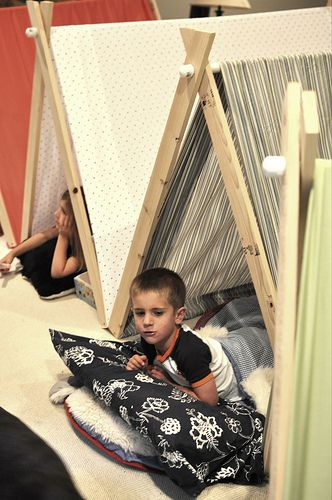 DIY collapsible pup tents! Wood strips, pvc pipe, twin flat sheet! Tons of fun!