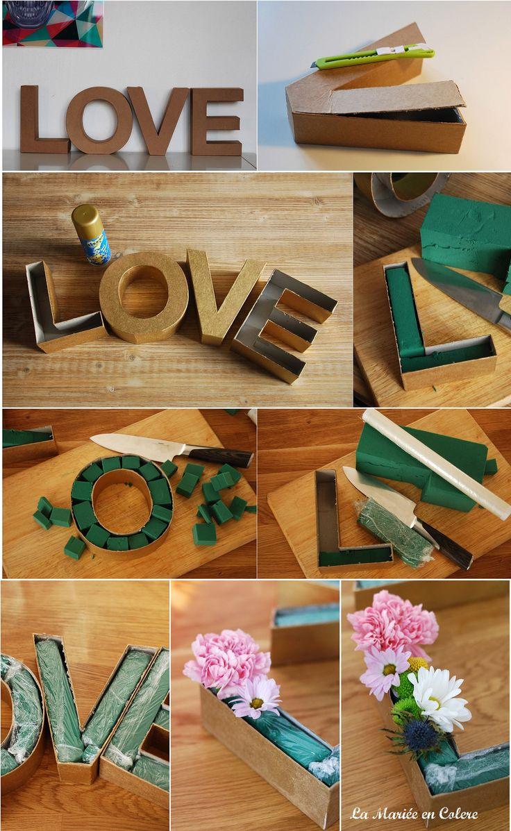 Une idée déco mariage romantique... DIY mariage décoration : Les lettres fleuries