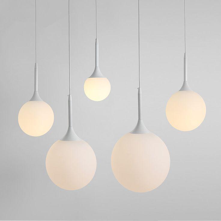 New Wholesale New Modern Globe Beave Pendant Light Meal Living Room Pendant Light White Glass Ball Hanging lamp Suspension  #Affiliate