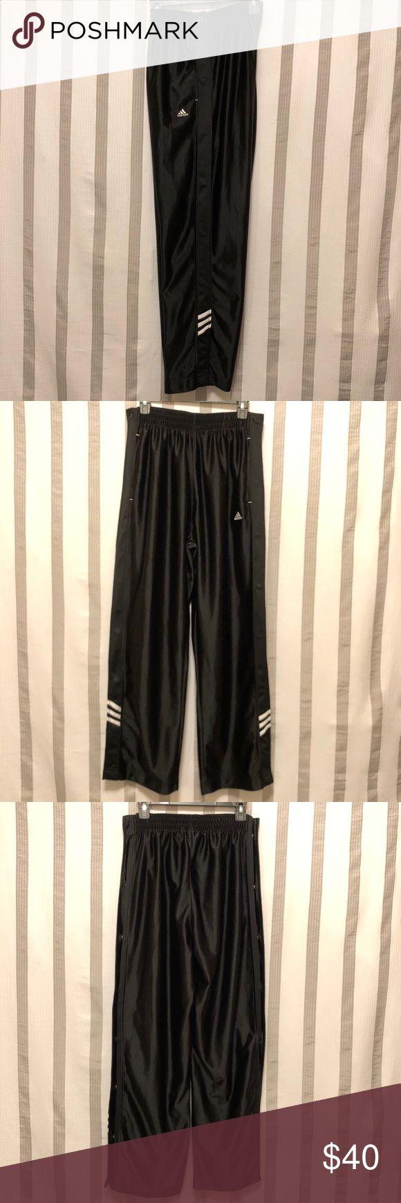 "New. Adidas Tear Away Basketball Pants NWOT. Beautiful Black & White Adidas Basketball Tear Away Pants. Size Medium. Flat measurements: 13"" to 17"" waist, 23"" Hips, 14"" Rise, 31"" inseam. adidas Pants"