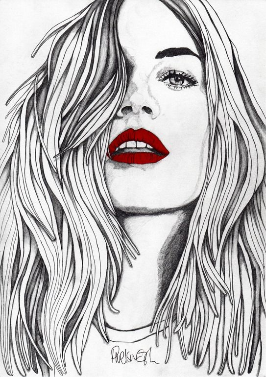 Girl with the Red Lips - ORIGINAL Signed Paul Nelson-Esch - Pencil