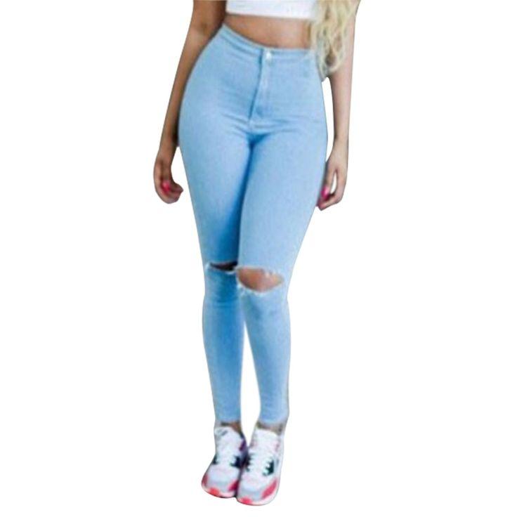 Fashion New Brand Women Jeans Hole Ripped Pantalon High Waist Denim Pants Skinny Slim Fit Vaqueros Female Femme 01C0206