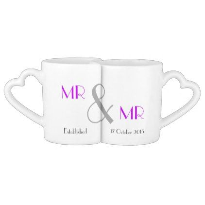 Mr & Mr Gay Wedding Gift Personalized Coffee Mug Set - anniversary cyo diy gift idea presents party celebration