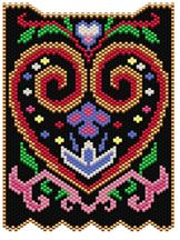 Folk Art Heart Pattern - Item Number 15172 at Bead-Patterns.com