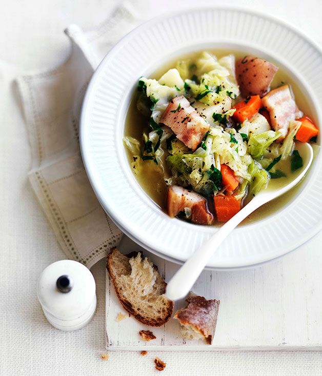 La garbure// 1 tbsp olive oil 1 onion, coarsely chopped 300 gm speck, coarsely chopped 1 garlic clove, finely chopped 1 litre (4 cups) chicken stock 500 gm white cabbage (about ½ cabbage), coarsely chopped 2 pontiac potatoes (about 350gm), coarsely chopped 120 gm stale bread, coarsely torn To serve: finely grated parmesan (optional) To serve: flat-leaf parsley, coarsely torn