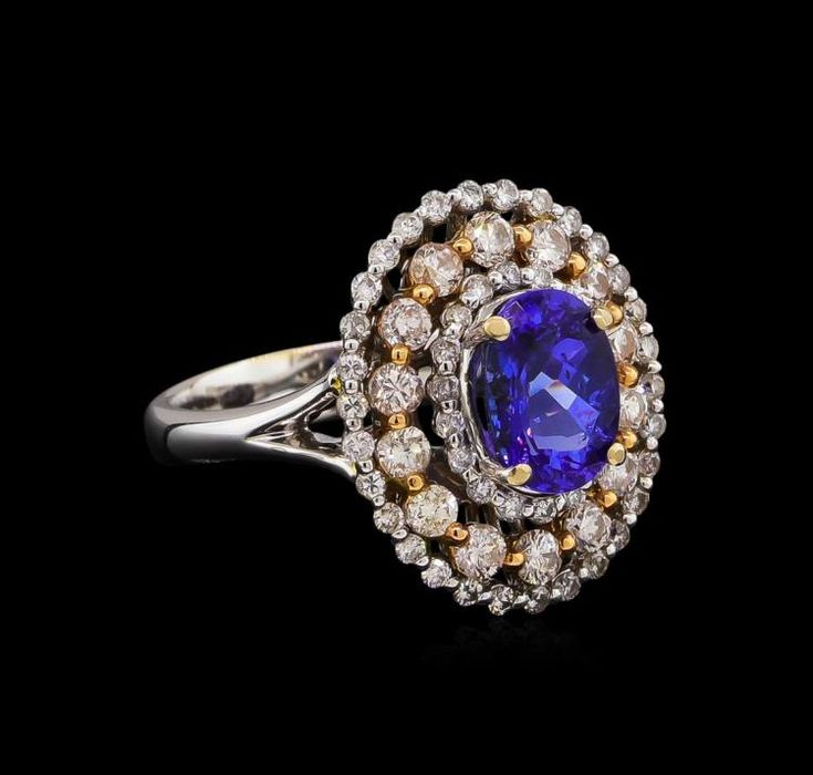 14kt Two-Tone arany 1,73 ctw Tanzanite és gyémánt gyűrű