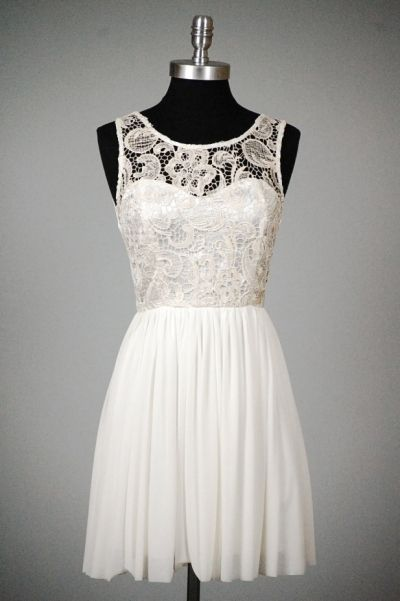 gorgeous, love the lace overlay in bodice -- Perfect graduation dress