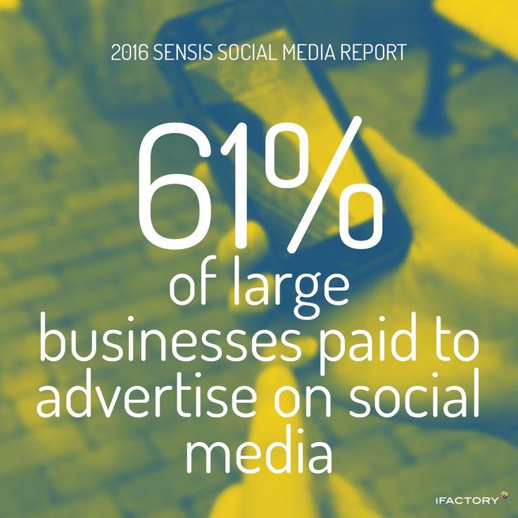 strong growth for large businesses for Advertising on social media. #SensisSocialMediaReport #SensisSocialSocialMediaAustralia #SensisSocial #ifactory #ifactorydigital