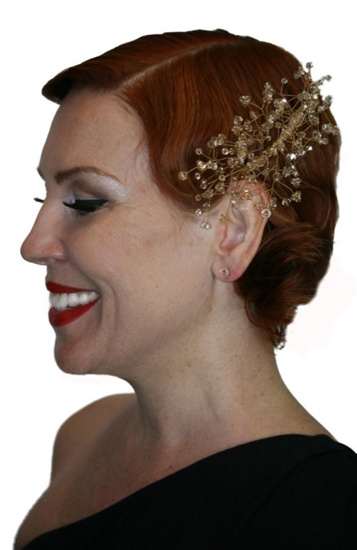 Handmade swarovski gold crystal spray hair comb/ hair piece. Perfect for bride wedding, bridesmaid or formal.  www.redki.com.au Hair by Ultimate Bridal, Hair piece by Redki Wearable Art.