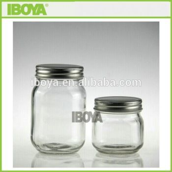 Clear glass canning jars with silver lid - another option. More like a mason jar