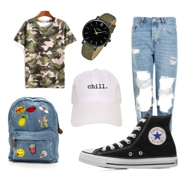 """Camo"" by grekke on Polyvore featuring Topshop, Converse and CLUSE"