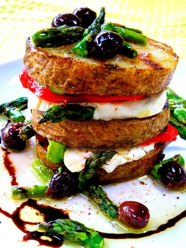 Grilled Potato and Asparagus Napolean.