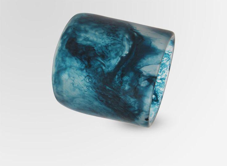 Extra Long Resin Band Bangle - Blue Ink Pearl MEDIUM FIT - Dinosaur Designs AU Store $110