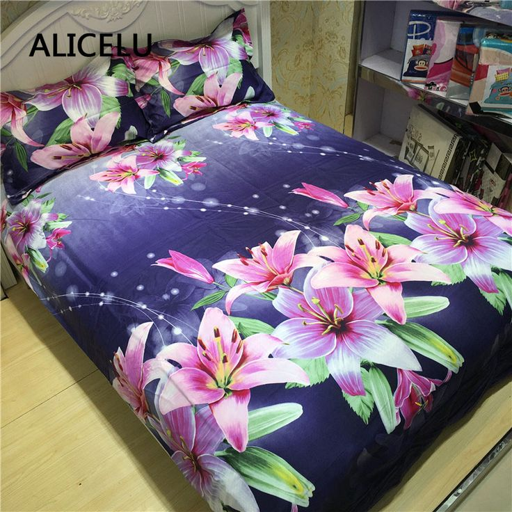 Cheap bedding set, Buy Quality romantic bedding directly from China feather bedding sets Suppliers: ALICELU Flower Large Print Rose Lily 3D Romantic Bedding 100% Polyester Premium Family Adult Child Feather Four Bedding Set