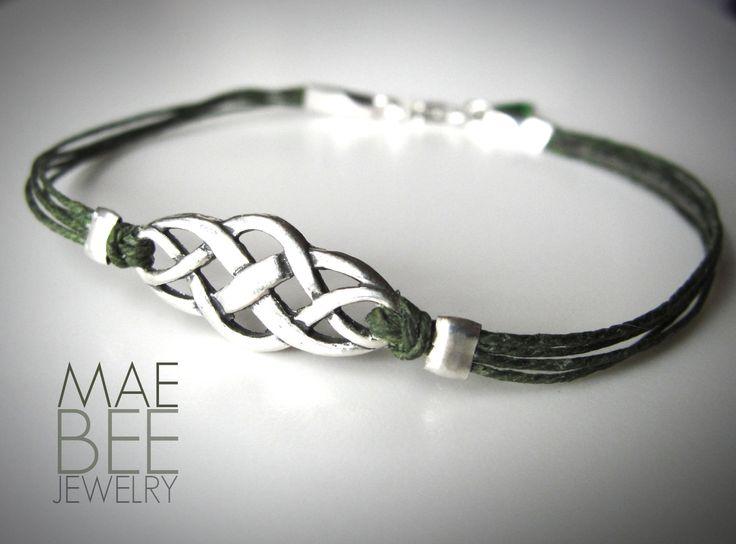 Sterling Celtic Knot on green linen #bracelet from JewelryByMaeBee on #Etsy.