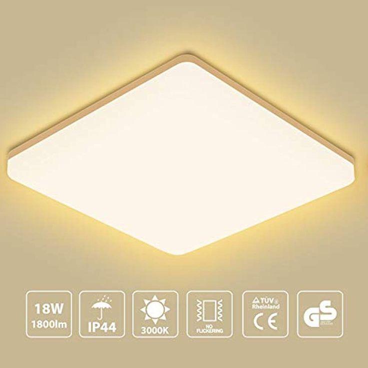 Oeegoo Led Deckenleuchte Bad Deckenlampe Warmweiss 3000k 18w 1800lm 100lm W Kuchenlampe Ip44 Badleuchte Led Feuchtraumleuchte Fur Wohnzimmer Sch Ceiling Lights Light Lamp