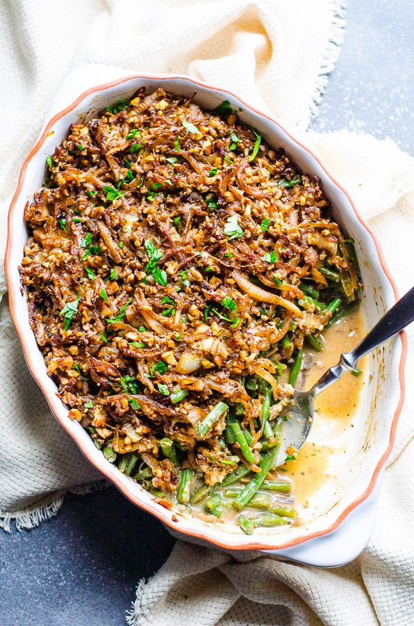 Clean Green Bean Casserole Two Ways with crispy panko or pecan parmesan onion topping. The BEST healthy green bean casserole from scratch!!! | ifoodreal.com