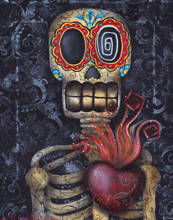 sjkull whimsy art | ... > Artist Spotlights > Abril Andrade: Sugar Skull Day of the Dead Art