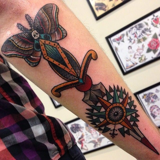 Neotraditional butterfly dagger compass tattoo by Lauren Gow #NeoTraditional #Tattoo #Butterfly #Dagger #Compass
