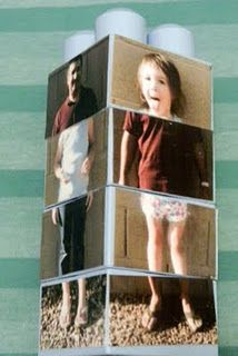 Silly Picture Puzzle Blocks: Made with duplo blocks & photos of your kids. As the blocks are repositioned, the pictures become matched to a different photo, creating very funny results! / A Couple of Craft Addicts