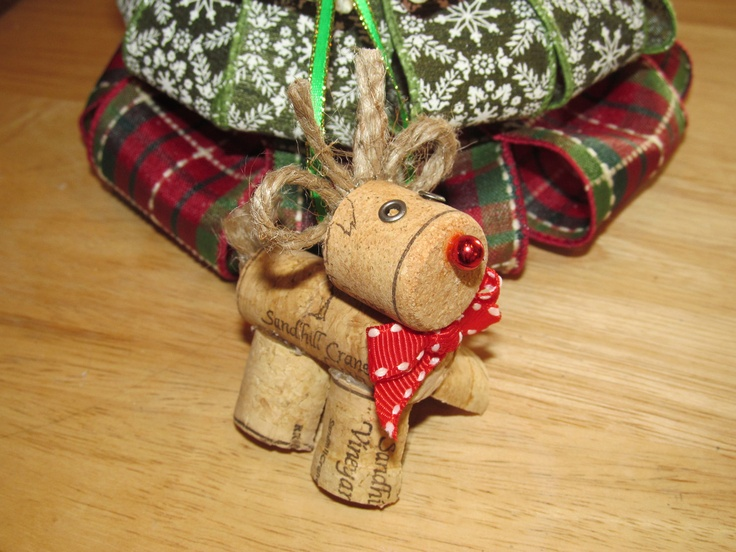 Wine Cork Rudolph Christmas Ornament. $4.00, via Etsy.----Finally something to do with all those leftover corks!
