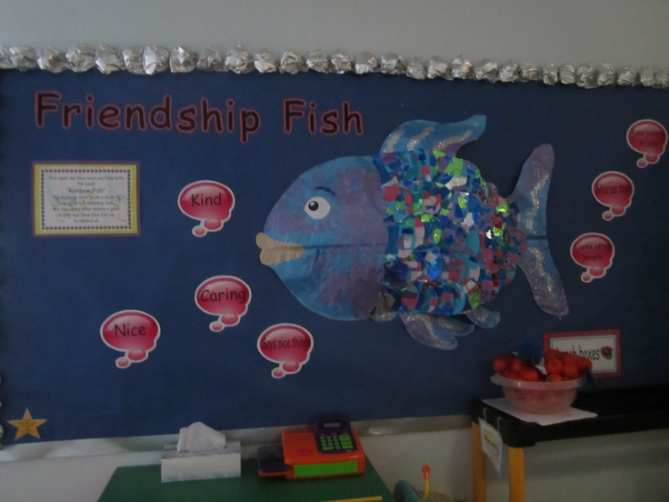Rainbow fish what if we had this rainbow fish on the for Fish bulletin board