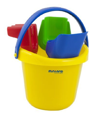 """Miniland Baby Sand Set (Colors may vary) $6.96 Miniland's set of 4 brightly colored sand toys includes a pail, rake, shovel and scoop, made of unbreakable plastic and sized for baby's small hands Baby Sand Game Set components in assorted colors:  blue, red, green and yellow Perfect for scooping and digging water and sand - at the beach or in the sandbox. Children develop coordination while exercising their imaginations. Pail is 4"""" tall. Shovel is 5-1/4"""" long. Scoop is 5-7/8"""" long. Rake is…"""