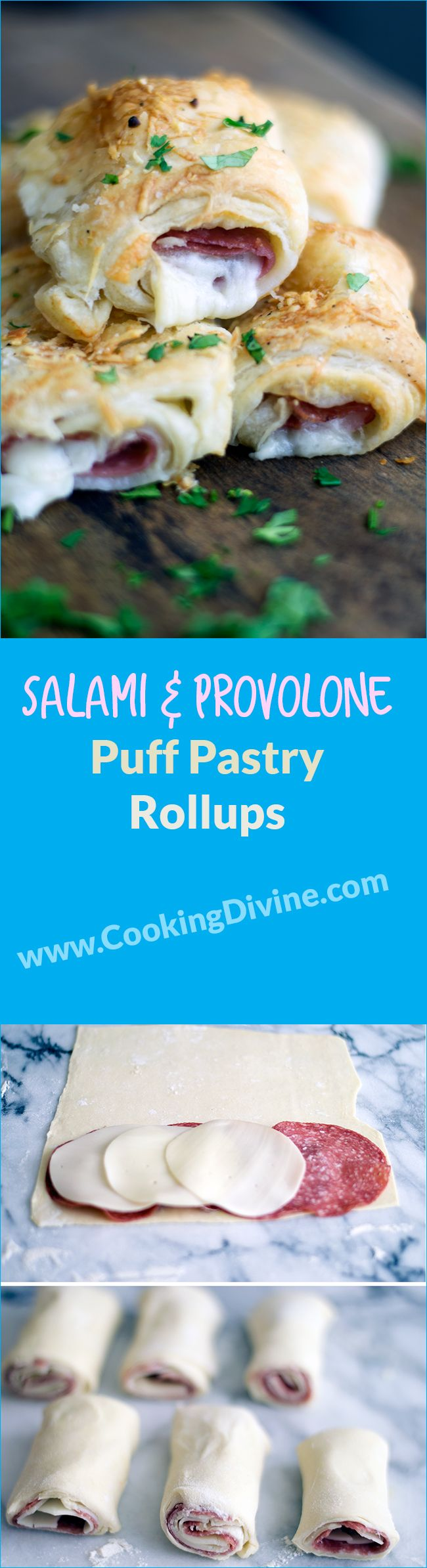 Salami and Provolone Puff Pastry Rollups Recipe:  This is a unique take on a classic Italian combination.  I actually came up with the idea for this appetizer with a mouth full of salami and provolone that I was snacking off a charcuterie board.  My first thought was of course, how can I make this already fattening appetizer even more unhealthy and delicious?