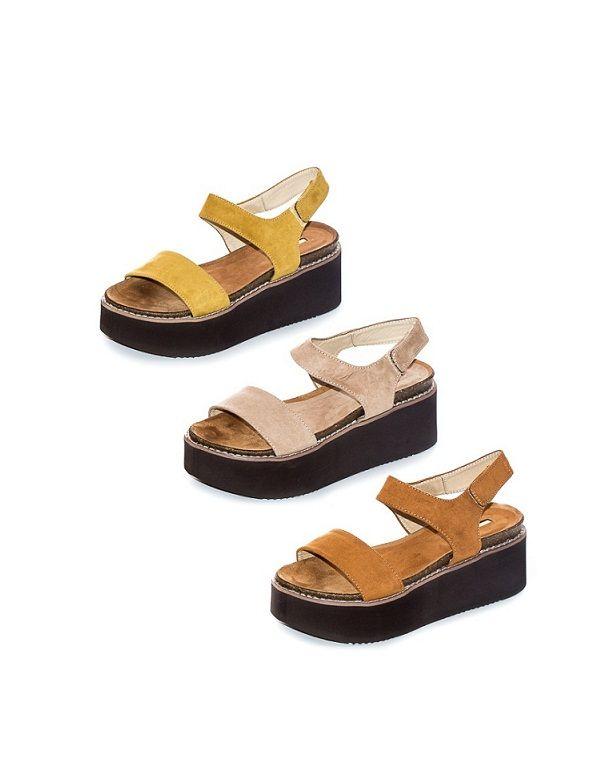Sandalia Bio Plataforma Ante con Velcro - Altura Delantera: 3,5 cm - Trasera: 7 cm - Colores: CAMEL, ARENA y MOSTAZA