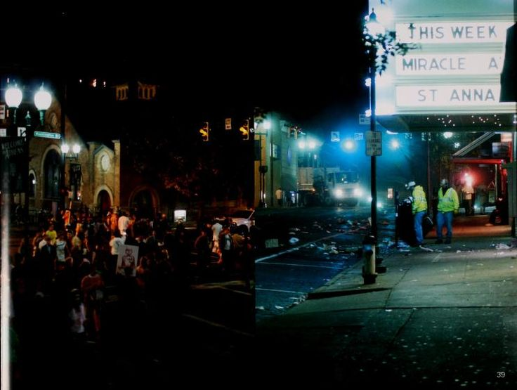 Athena yearbook, 2009. Halloween partiers leave a mess outside the Athena Cinema on Court Street. :: Ohio University Archives