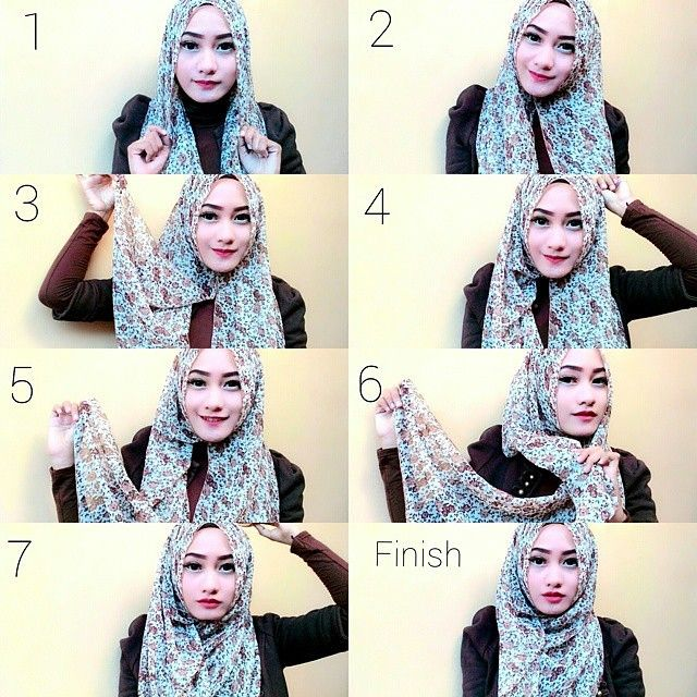 This is a very simple and easy chest coverage hijab style as we have already seen before, this one though has some volume and using this gorgeous printed scarf gives a stylish look. Here are the steps for this style…