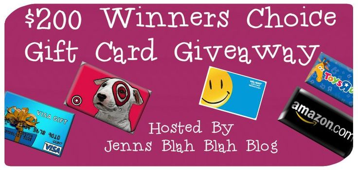 Don't miss out on your chance to #win a $200 gift card of your choice via jennsblahblahblog.com #giveaways and #sweepstakes: Gift Card, Gift Cards, Winner S Choice, Winners Choice, 250 Winner, 200 Winner