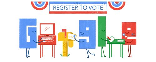 US Voter Registration Day Reminder  Date: September 26 2016  Todays National Voter Registration Day Reminder Doodleleads to a tool that will help you register in your state get basic voter information and make sure your voice is heard on November 8th.  Location: United States  Tags: registration voting vote democracy